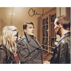 Dr Who Cast Signed Photo x3 340G Eccleston Piper Barrowman UACC
